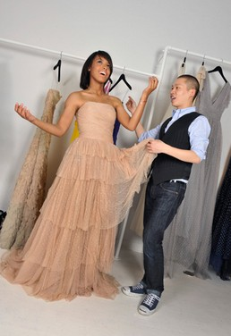 Autumn Whitaker being fitted by Jason Wu.  Photo By: Christophe Guibbaud/ABACAPRESS.COM