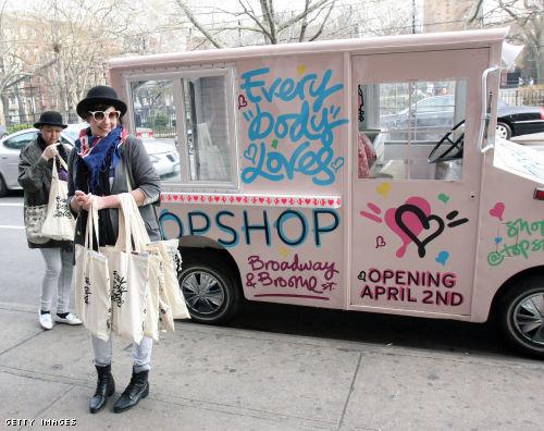 Topshop Heartschallenger truck in New York last April