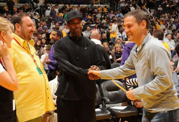 Producer Joel Silver, Denzel Washington, and Ari Emanuel  at an Orlando Magic v. Lakers game
