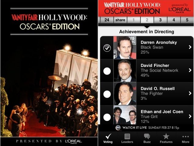 Campaign Hollywood 2011 Vanity FairHollywood: Oscars® Edition iPhone & iPad app