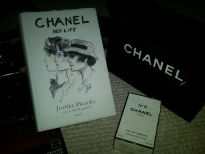"Gifts bags: ""Chanel: Her Life"" book, and Chanel #5 perfume"
