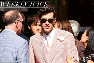 Mark Ronson in candy cane for his wedding to French model Josephine de la Baume - pic from Daily Mail