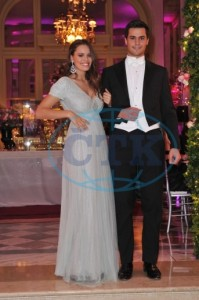 Atlanta de Cadenet Taylor wearing a Chanel HC dress with her escort Stephane de Watazzi