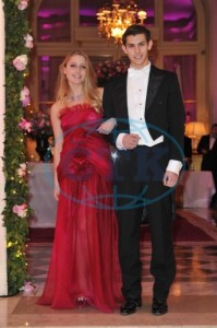 Charlotte Dawnay wearing a Christophe Josse HC dress with her escort Nicholas Hissom