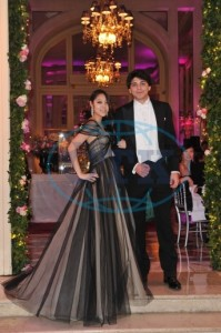 Tanyatip Chearavanont wearing a J. Mendel dress with her escort Prince Hari Alexander de Kalsia