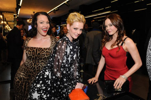 Erin Cummings, Lydia Hearst and Rose McGowan at Dolce & Gabbana's cocktail party for Terraferma on November 9, 2011 in Beverly Hills, California. (Photo by Amy Graves/WireImage)