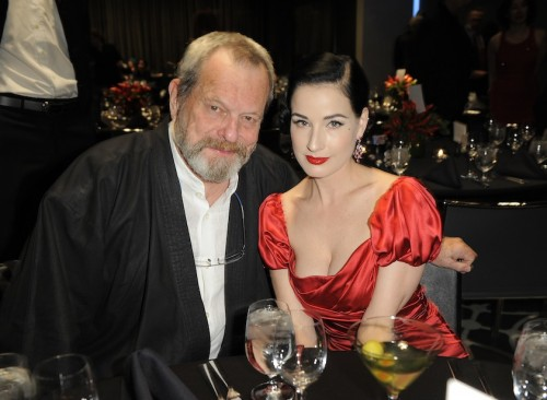 Terry Gilliam & Dita von Teese at the Gala Dinner at the W Hollywood -- Dita is in Dolce & Gabbana with jewels by BVLGARI (photo credit: André Lucat).