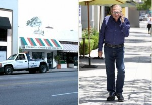 Larry King picked up a small pizza from Mulberry Pizza on Beverly Drive before flipping a u-tun in front of Rite-Aid and heading home on January 30, 2012