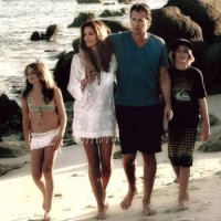 Malibu resident Cindy Crawford with her family at their lake house in Canada  (photo via C Magazine)