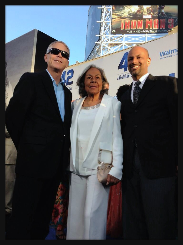 Rachel Robinson, the widow of Jackie Robinson, with Apoorva Gandhi, VP Multicultural Markets and Alliances, Marriott International and Gordon Lambourne, SVP Global PR, Marriott International at the premiere of '42'