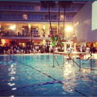 DJ stage in the middle of the pool (photo via @BeverlyHilton)